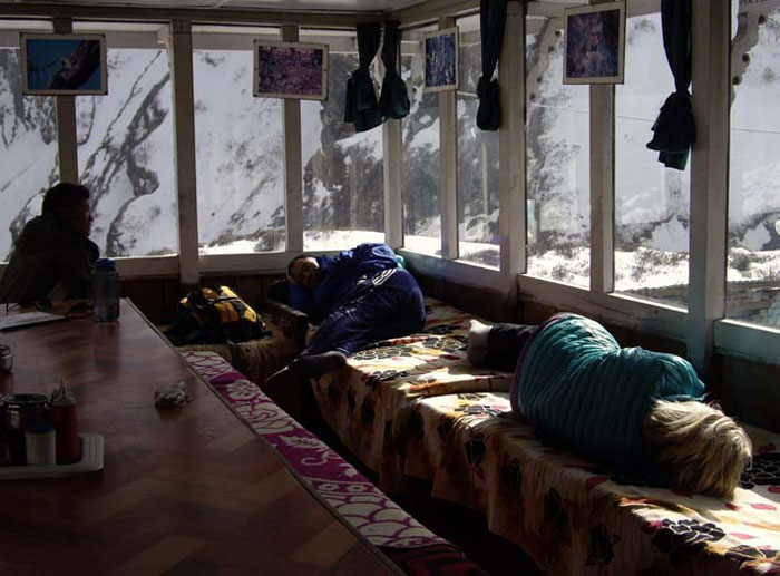 Dozing away the afternoon at the Machhapuchhre Base Camp